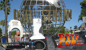 BTTF Car DeLorean Time Machine at World globe at the front of Universal Studios Hollywood