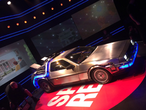 BTTF Car Delorean Time Machine appearing on Sport Relief 2020 with the cast of the Back to the Future Musical